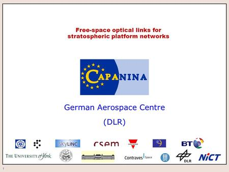 1 Free-space optical links for stratospheric platform networks German Aerospace Centre (DLR)