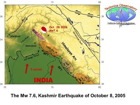 The Mw 7.6, Kashmir Earthquake of October 8, 2005.