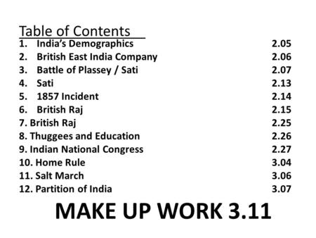 Table of Contents 1.India's Demographics2.05 2.British East India Company2.06 3.Battle of Plassey / Sati 2.07 4.Sati2.13 5.1857 Incident2.14 6.British.