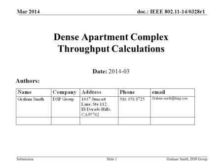 Doc.: IEEE 802.11-14/0328r1 Submission Dense Apartment Complex Throughput Calculations Date: 2014-03 Authors: Graham Smith, DSP GroupSlide 1 Mar 2014.