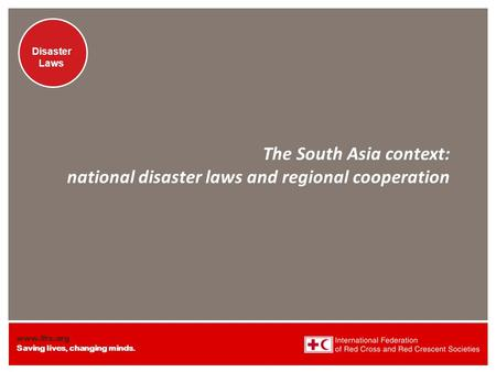 Www.ifrc.org Saving lives, changing minds. Disaster Laws The South Asia context: national disaster laws and regional cooperation.