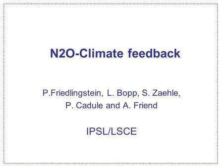 N2O-Climate feedback P.Friedlingstein, L. Bopp, S. Zaehle, P. Cadule and A. Friend IPSL/LSCE.