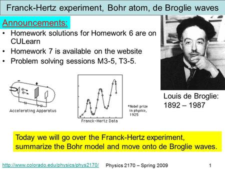 Physics 2170 – Spring 20091 Franck-Hertz experiment, Bohr atom, de Broglie waves Homework solutions for Homework.