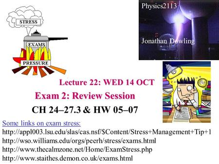 Lecture 22: WED 14 OCT Exam 2: Review Session CH 24–27.3 & HW 05–07 Physics2113 Jonathan Dowling Some links on exam stress: