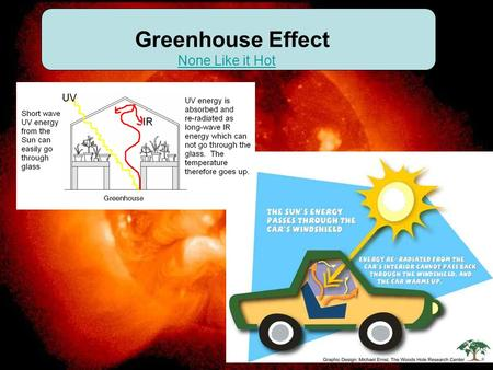 Greenhouse Effect None Like it Hot. Three primary gases which absorb infrared (IR) energy:
