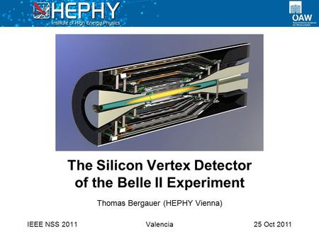 25 Oct 2011 The Silicon Vertex Detector of the Belle II Experiment IEEE NSS 2011 Thomas Bergauer (HEPHY Vienna) Valencia.