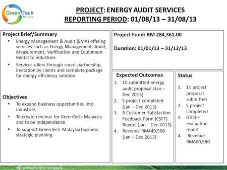 Copyright Reserved GreenTech Malaysia PROJECT: ENERGY AUDIT SERVICES REPORTING PERIOD: 01/08/13 – 31/08/13 1 Project Brief/Summary  Energy Management.