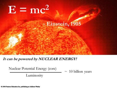It can be powered by NUCLEAR ENERGY! Luminosity ~ 10 billion years Nuclear Potential Energy (core) E = mc 2 - Einstein, 1905.