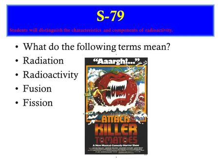 What do the following terms mean? Radiation Radioactivity Fusion Fission S-79 Students will distinguish the characteristics and components of radioactivity.