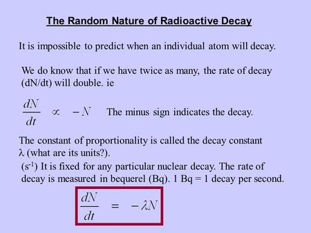 The Random Nature of Radioactive Decay