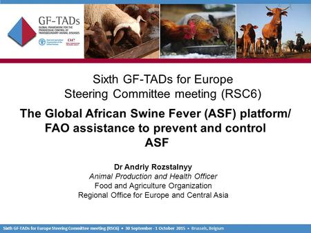 Sixth GF-TADs for Europe Steering Committee meeting (RSC6) 30 September - 1 October 2015 Brussels, Belgium Sixth GF-TADs for Europe Steering Committee.