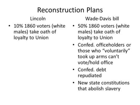 Reconstruction Plans Lincoln 10% 1860 voters (white males) take oath of loyalty to Union Wade-Davis bill 50% 1860 voters (white males) take oath of loyalty.