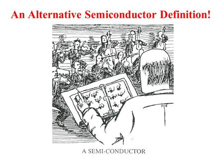 An Alternative Semiconductor Definition!. What is a Semiconductor? B - Ch 1, Y - Ch 1, S - Ch 1 Conductivity/Resistivity Definition (σ = conductivity,