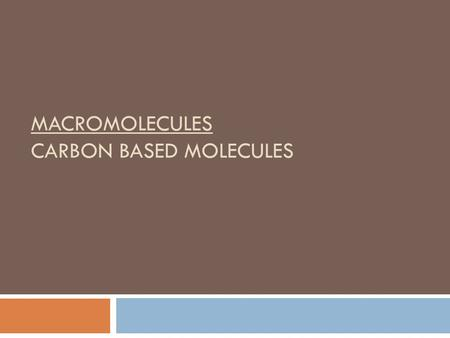 MACROMOLECULES CARBON BASED MOLECULES. Carbon-based molecules are the foundation of life.