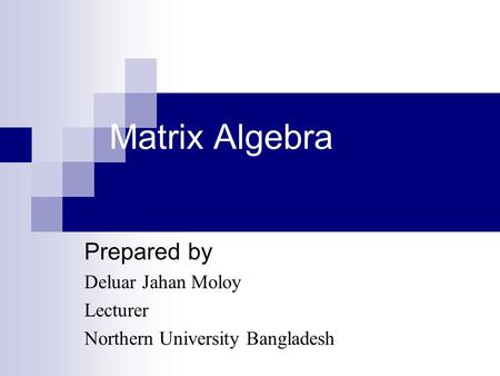 Prepared by Deluar Jahan Moloy Lecturer Northern University Bangladesh