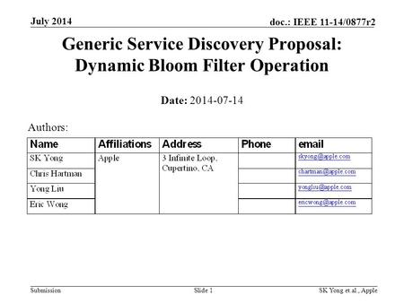 Submission doc.: IEEE 11-14/0877r2 July 2014 SK Yong et.al., AppleSlide 1 Generic Service Discovery Proposal: Dynamic Bloom Filter Operation Date: 2014-07-14.