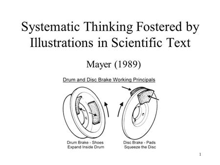 1 Systematic Thinking Fostered by Illustrations in Scientific Text Mayer (1989)