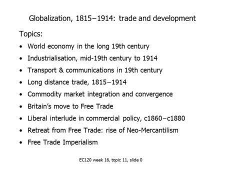 The World Economy in the long 19th century