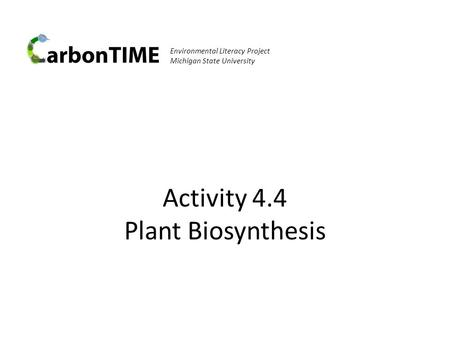 Activity 4.4 Plant Biosynthesis Environmental Literacy Project Michigan State University.