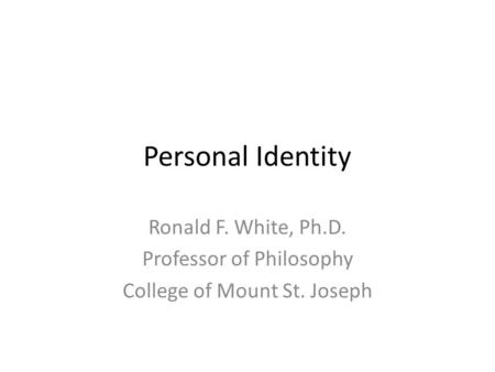 Personal identity and the afterlife