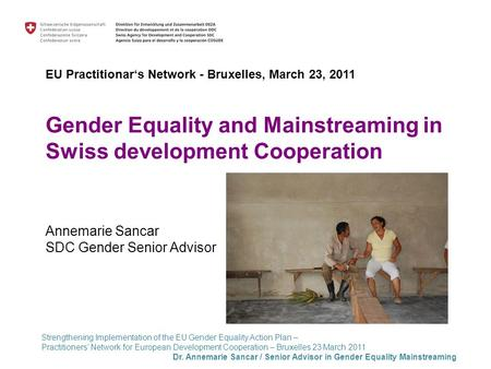 Strengthening Implementation of the EU Gender Equality Action Plan – Practitioners' Network for European Development Cooperation – Bruxelles 23 March 2011.