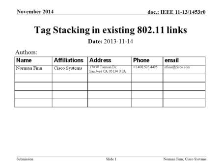 Submission doc.: IEEE 11-13/1453r0 November 2014 Norman Finn, Cisco SystemsSlide 1 Tag Stacking in existing 802.11 links Date: 2013-11-14 Authors: