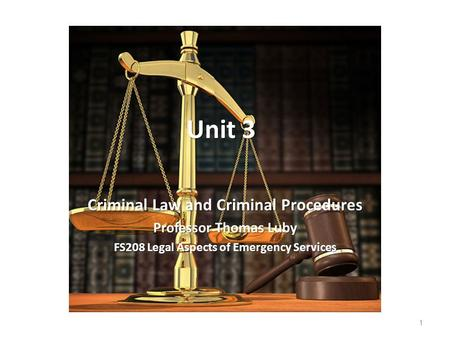 Unit 3 Criminal Law and Criminal Procedures Professor Thomas Luby FS208 Legal Aspects of Emergency Services 1.