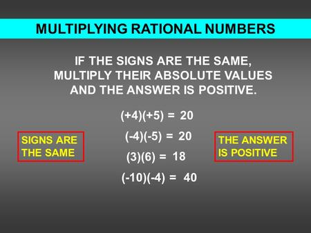 MULTIPLYING RATIONAL NUMBERS IF THE SIGNS ARE THE SAME, MULTIPLY THEIR ABSOLUTE VALUES AND THE ANSWER IS POSITIVE. (+4)(+5) = (-4)(-5) = (3)(6) = (-10)(-4)