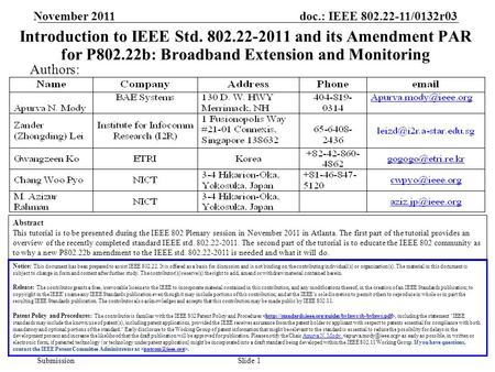 Doc.: IEEE 802.22-11/0132r03 Submission November 2011 Slide 1 Introduction to IEEE Std. 802.22-2011 and its Amendment PAR for P802.22b: <strong>Broadband</strong> Extension.