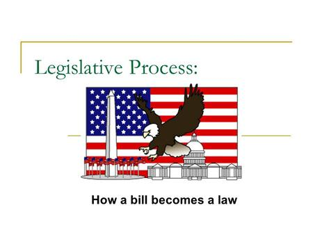 Legislative Process: How a bill becomes a law. Who can propose a law? Anyone can suggest an idea for a law. However, only a Member of Congress can take.