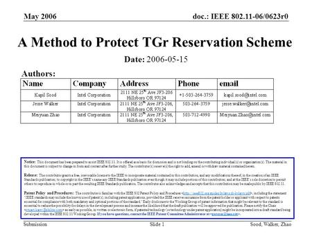<strong>Doc</strong>.: IEEE 802.11-06/0623r0 Submission May 2006 Sood, Walker, ZhaoSlide 1 A Method to Protect TGr Reservation Scheme Notice: This document has been prepared.