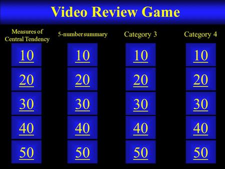Video Review Game 50 40 10 20 30 50 40 10 20 30 50 40 10 20 30 50 40 10 20 30 5-number summary Measures of Central Tendency Category 3Category 4.