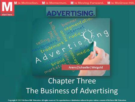 Chapter Three The Business of Advertising Arens|Schaefer|Weigold Copyright © 2015 McGraw-Hill Education. All rights reserved. No reproduction or distribution.
