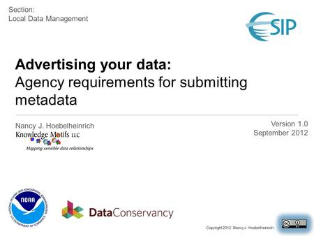 Advertising your data: Agency requirements for submitting metadata Nancy J. Hoebelheinrich Version 1.0 September 2012 Section: Local Data Management Copyright.