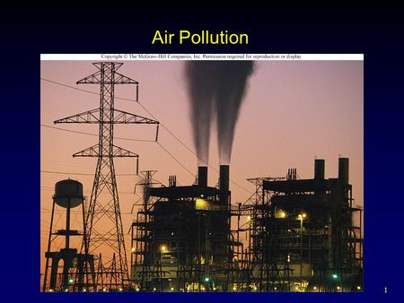 1 Air Pollution. 2 Outline Natural Sources Human-Caused Air Pollution  Conventional Pollutants  Unconventional Pollutants  Indoor Air Pollution Climate.