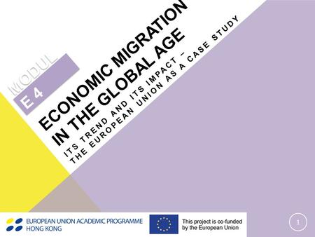 ITS TREND AND ITS IMPACT – THE EUROPEAN UNION AS A CASE STUDY 1 MODUL E 4 ECONOMIC MIGRATION IN THE GLOBAL AGE.