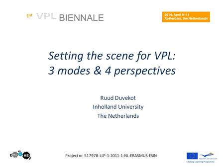 Setting the scene for VPL: 3 modes & 4 perspectives Ruud Duvekot Inholland University The Netherlands Project nr. 517978-LLP-1-2011-1-NL-ERASMUS-ESIN 2014,