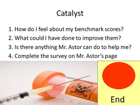 Catalyst 1. How do I feel about my benchmark scores? 2. What could I have done to improve them? 3. Is there anything Mr. Astor can do to help me? 4. Complete.