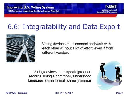 Oct 15-17, 2007 6.6: Integratability and Data Export Page 1Next VVSG Training Voting devices must speak (produce records) using a commonly understood language,