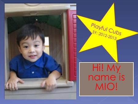 Hi! My name is MIO! Playful Cubs SY: 2012-2013. During Free Play, we like to go around the different areas of the classroom. Manipulatives Area Blocks.