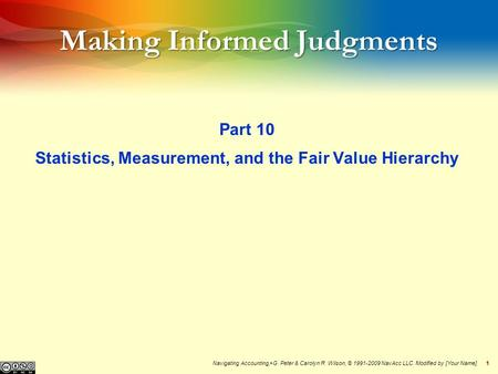 11 Making Informed Judgments Part 10 Statistics, Measurement, and the Fair Value Hierarchy Navigating Accounting, ® G. Peter & Carolyn R. Wilson, © 1991-2009.