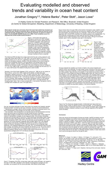 Hadley Centre Evaluating modelled and observed trends and variability in ocean heat content Jonathan Gregory 1,2, Helene Banks 1, Peter Stott 1, Jason.