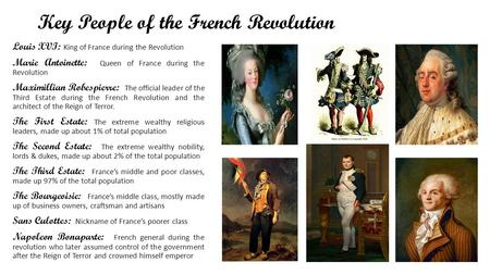 Key People of the French Revolution Louis XVI: King of France during the Revolution Marie Antoinette: Queen of France during the Revolution Maximillian.