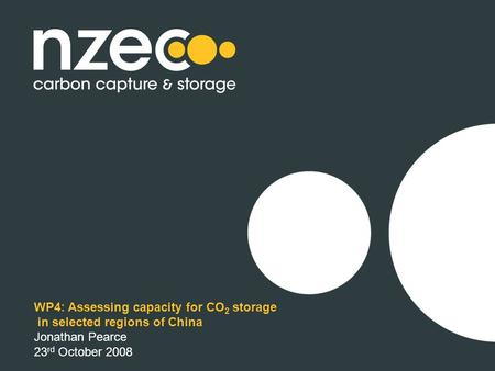 WP4: Assessing capacity for CO 2 storage in selected regions of China Jonathan Pearce 23 rd October 2008.