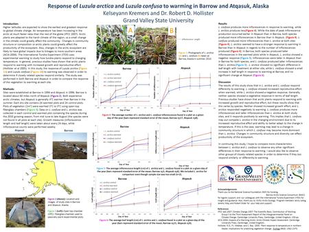 Response of Luzula arctica and Luzula confusa to warming in Barrow and Atqasuk, Alaska Kelseyann Kremers and Dr. Robert D. Hollister Grand Valley State.