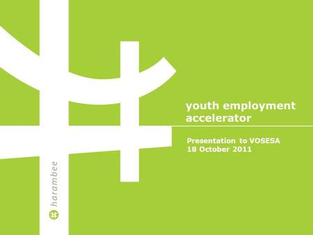 Presentation to VOSESA 18 October 2011 youth employment accelerator.