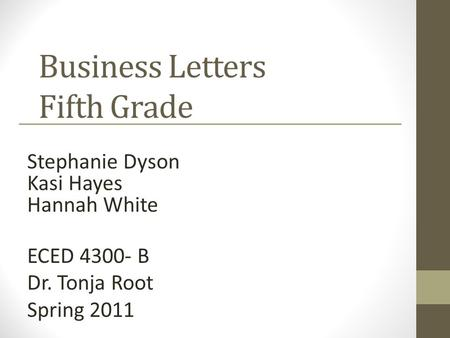 Business Letters Fifth Grade