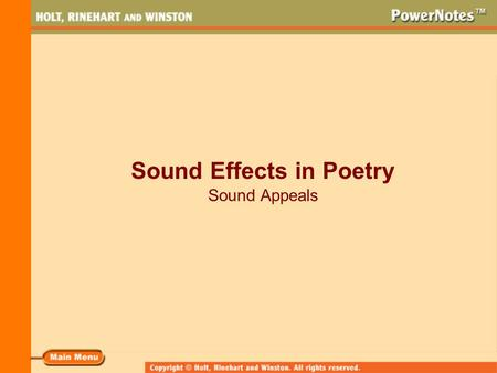 Sound Effects in Poetry Sound Appeals. What Sound Effects Do Poets Use? Some of the sound effects poets may use are rhyme alliteration onomatopoeia.