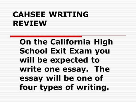 high school exit exam essay By law, school districts must implement an exit examination to any and all 12th grade students it is the schools responsibility to have resources on the schools site.