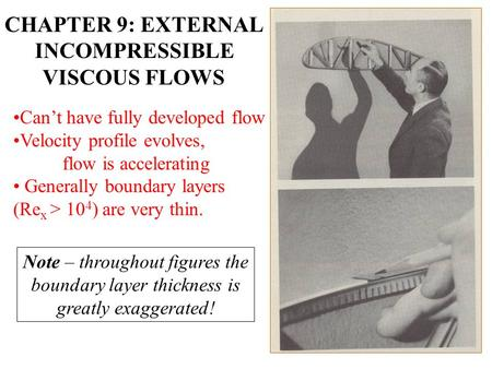 Note – throughout figures the boundary layer thickness is greatly exaggerated! CHAPTER 9: EXTERNAL INCOMPRESSIBLE VISCOUS FLOWS Can't have fully developed.